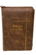 Bibelen – Guds Ord – storskrift – brunt skinn – register – glidelås