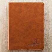 Notatbok liten lys brun kunstskinn
