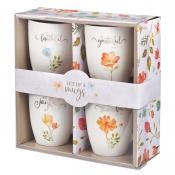 Krus 4 pakkning Gratefull Floral