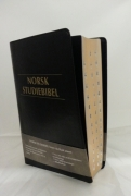 Norsk Studiebibel sort kunstskinn m/register