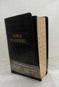 Norsk Studiebibel sort kunstskinn m/register