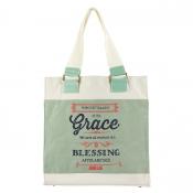 Canvas Retro Blessings, Grace John 1:16 Tote Bag