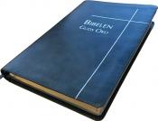 Bibelen Guds Ord - ultratynn blå kunstskinn med register
