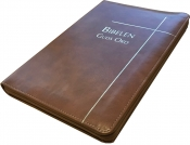 Bibelen – Guds Ord ultratynn brun med register og glidelås